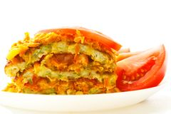 A piece of delicious cake from courgettes. Vegetable cake. stock photos