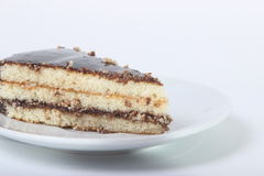 Piece of delicious cake drizzled with chocolate. On a white background Royalty Free Stock Image