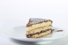 Piece of delicious cake drizzled with chocolate. On a white background Stock Image
