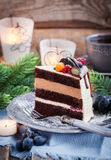 Piece of delicious chocolate cake Stock Images