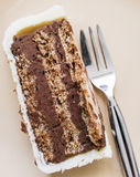 Piece of delicious chocolate cake with fork, sweet food Stock Photos