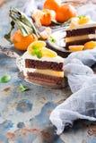 Piece of delicious chocolate cake stock photo