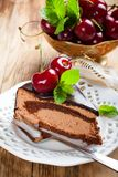 Piece of delicious chocolate mousse cake Stock Image