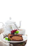 Piece of delicious chocolate mousse cake stock photography