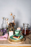 Piece of delicious chocolate mousse cake on colorful plate on wooden table background. Table setting for tea party. Selective focu Royalty Free Stock Photos
