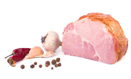 The piece of delicious ham and spices Royalty Free Stock Image
