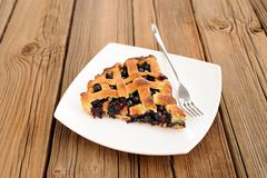 Piece of delicious homemade lattice pie with whole wild blueberries Stock Photography