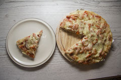 Piece of delicious homemade pizza Royalty Free Stock Images