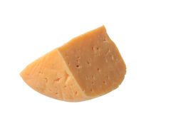 Piece of delicious porous cheese. A piece of delicious porous cheese on a white background Stock Photo