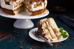 Piece of delicious tiramisu cake Royalty Free Stock Images