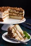 Piece of delicious tiramisu cake Stock Photography