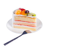 Piece of dilicious cake,Isolated on white background Royalty Free Stock Image