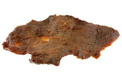 A piece of dried salty Beef Jerky Royalty Free Stock Images