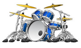 5 Piece Drum Set Musical Instrument Illustration. Five piece musical percussion drum kit instrument vector cartoon style illustration Stock Illustration