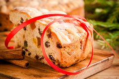 Piece of Dundee cake with red ribbon Stock Image