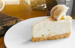 A piece of durian cake topping with fresh durian Royalty Free Stock Photography