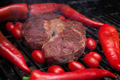 Piece of fat Beef on grill Royalty Free Stock Photos