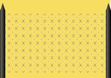 4.A piece of a fence. Part of a fence, the metal gauze, on a brown background Royalty Free Stock Photo