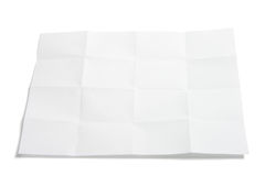 Piece of Folded Paper. On White Background stock images