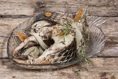 Piece of fragrant roasted fish Royalty Free Stock Photos