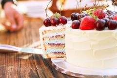 A piece of frash homemade cake with fresh berries and fruits royalty free stock photo