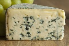 Piece of French Bleu d`auvergne cheese stock images