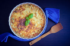 Piece of French quiche Lorraine pie Royalty Free Stock Photos