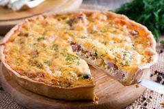 A piece of French quiche Lorraine Royalty Free Stock Image