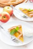 Piece of fresh apple pie with whipped cream on a plate, top view. Vertical Stock Photos