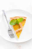 Piece of fresh apple pie on white plate, top view Royalty Free Stock Image