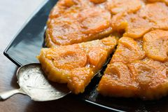 A piece of fresh baked apricot tart stock photo