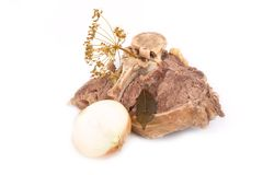 Piece of fresh boiled meat with a bone Royalty Free Stock Photography