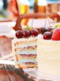 Piece of frash homemade cake with fresh berries and fruits royalty free stock photo