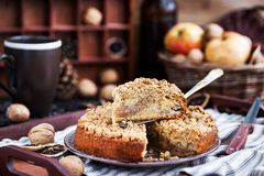 Piece of fresh homemade apple and cinnamon crumb coffee cake. On tray Stock Photography