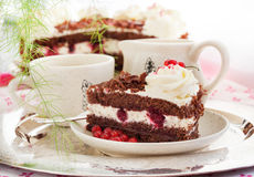 Piece of fresh homemade Black Forest cake Royalty Free Stock Photo