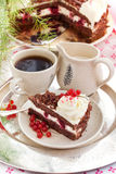 Piece of fresh homemade Black Forest cake Royalty Free Stock Images