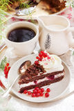 Piece of fresh homemade Black Forest cake Stock Photography