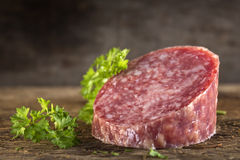 Piece of Fresh Italian Salami Stock Images