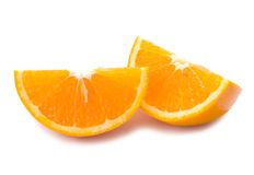 Piece of fresh orange fruit with shadow Royalty Free Stock Images