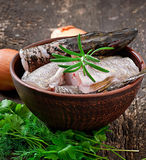 Piece of fresh raw fish Stock Images