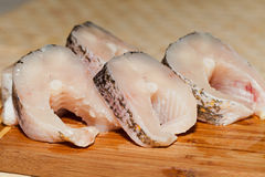 Piece of fresh raw fish. Royalty Free Stock Images