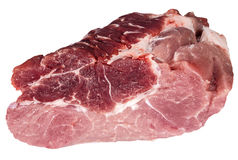Piece of fresh raw meat closeup. Piece of fresh raw meat on white background closeup Royalty Free Stock Photography