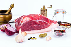 Piece of Fresh Raw Pork, Meat. A Piece of Fresh Raw Pork, Meat Studio Photo Royalty Free Stock Image
