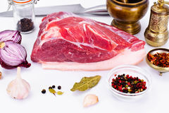 Piece of Fresh Raw Pork, Meat. A Piece of Fresh Raw Pork, Meat Studio Photo Royalty Free Stock Images