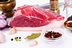 Piece of Fresh Raw Pork, Meat. A Piece of Fresh Raw Pork, Meat Studio Photo Royalty Free Stock Photos
