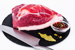 Piece of Fresh Raw Pork, Meat. A Piece of Fresh Raw Pork, Meat Studio Photo Stock Photo
