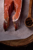 Piece of fresh raw salmon. A piece of fresh raw salmon with spices and salt on a dark background Royalty Free Stock Images