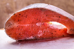 Piece of fresh raw salmon. A piece of fresh raw salmon with spices and salt on a dark background Stock Photos