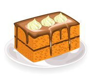 A piece of fresh sweet cake, covered with chocolate icing. Flowers from a creamy cream decorate a delicious confectionery product vector illustration
