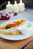 Piece of freshly baked pumpkin strudel Royalty Free Stock Images